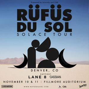 2 VIP Rufus Du Sol at Fillmore 11/10 for Sale in Lakewood, CO