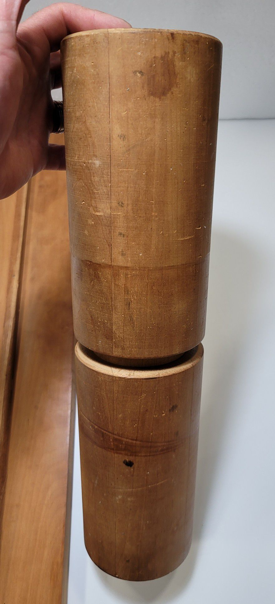 "Vintage  Wooden Balance Board 34"" Balance Fitness Roller 16"""