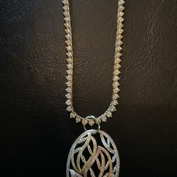 Diamond Tennis Necklace With Pendant 3,000 Without Pendant 2,300  The Ring 600. Or We Can Make A Deal. Or Best Offer. Won't Respond To Bullshit 💯✌🏾 Thumbnail