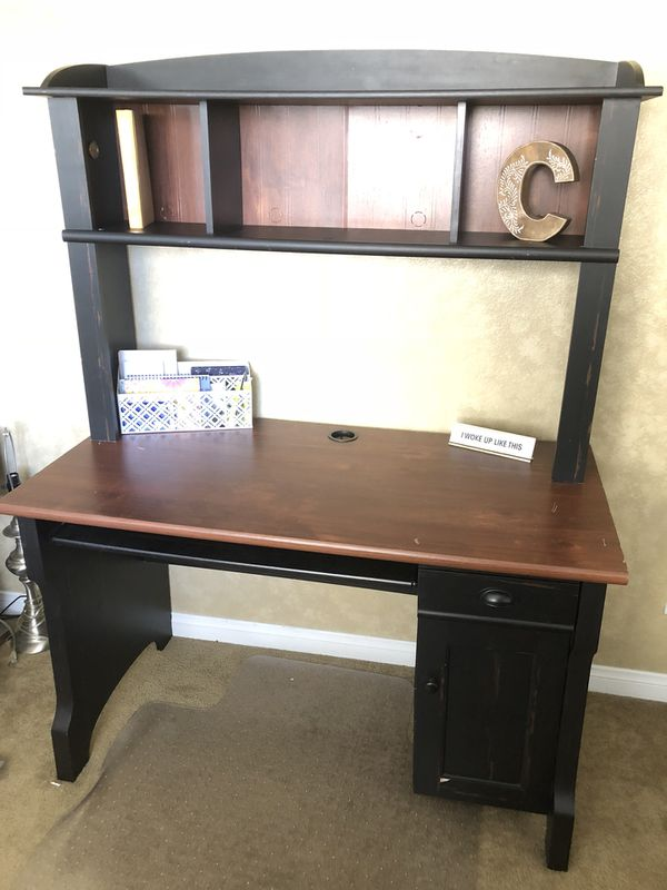 desk polished l mahogany wood student several shaped ivory with hutch for on