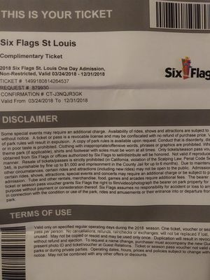2018 ..6 Sixflags one day passes for Sale in St. Louis, MO