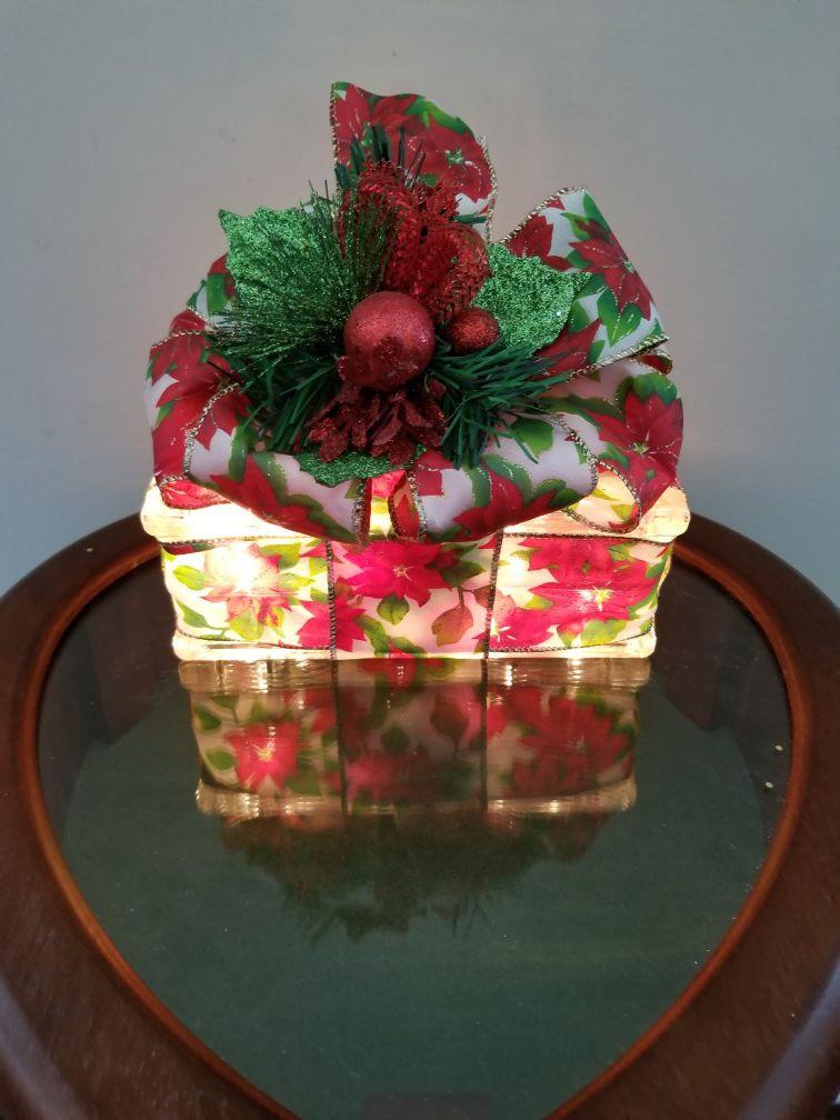 Poinsettia Ribbon Lighted Glass Block