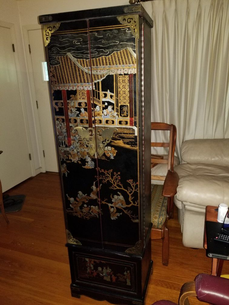 Beautiful Black lacquer oriental floor jewelry armoire