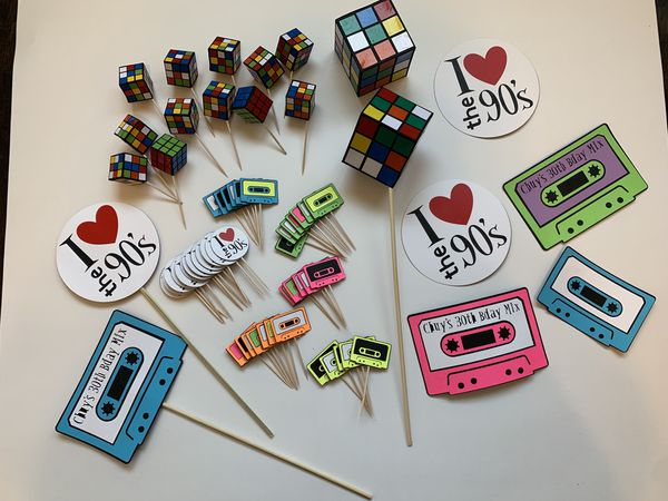 80s 90s Bday Party Cupcake Toppers And Decor
