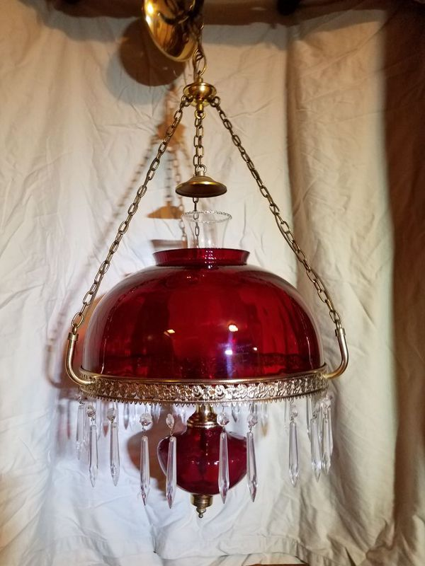 antique red glass chandelier light fixture 1960 s for sale in