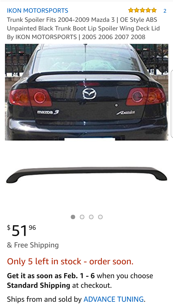 Factory Style ABS Unpainted Black Trunk Boot Lip Spoiler Wing Deck Lid By IKON MOTORSPORTS Trunk Spoiler Fits 2004-2009 Mazda 3 2005 2006 2007 2008