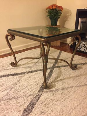 Vintage Iron + glass top coffee table for Sale in Washington, DC
