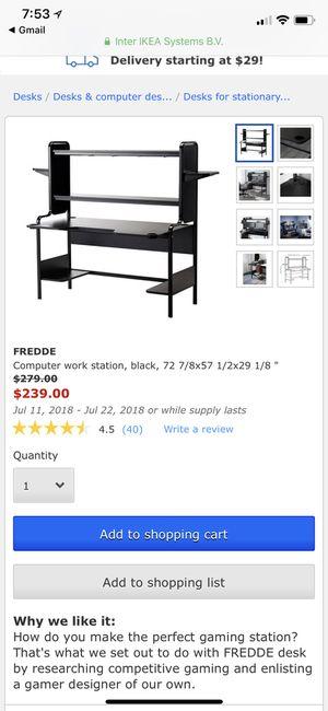 Fredde Computer Work Station Black 72 78x57 12x29 18 For Sale