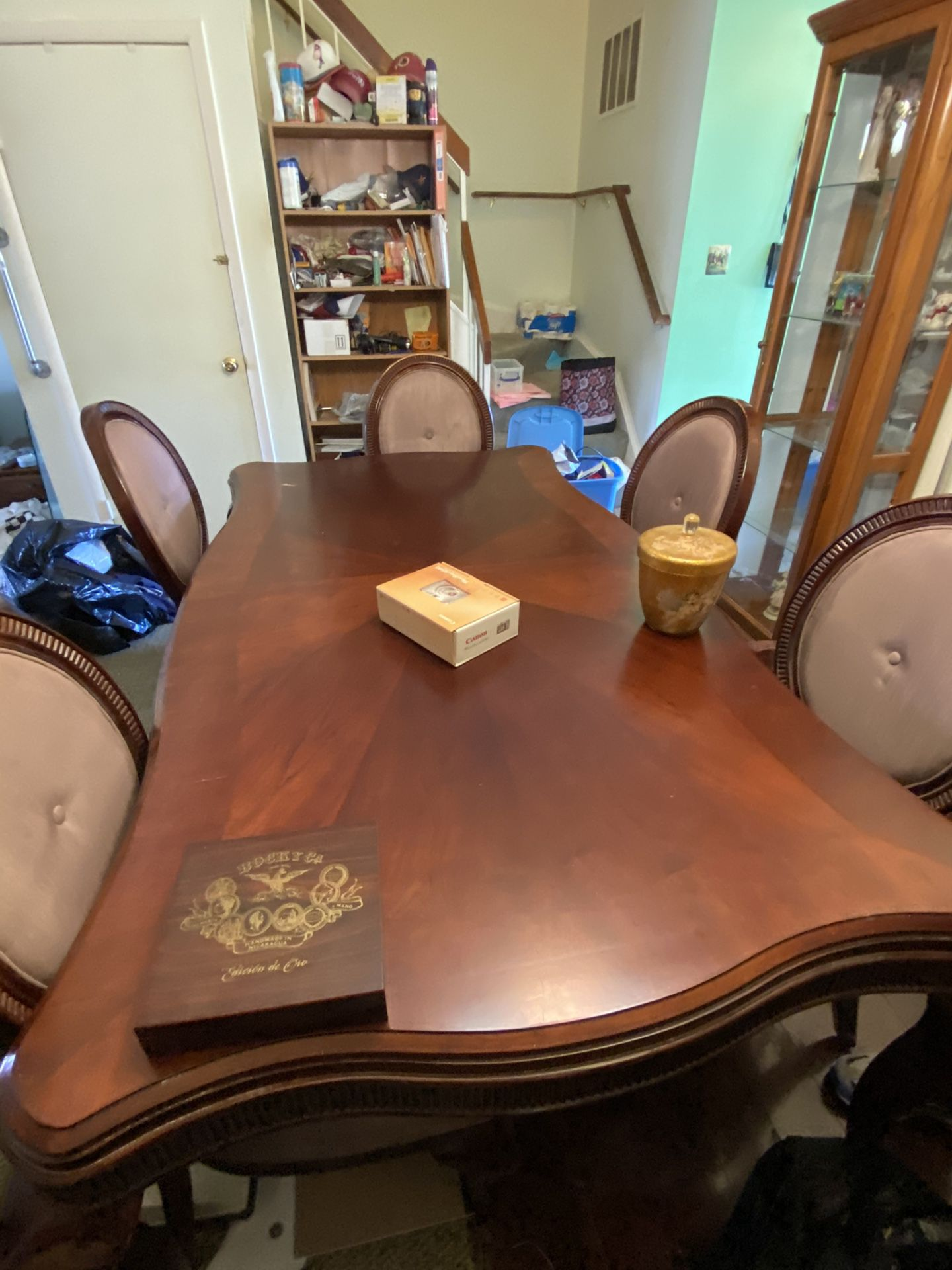 Cherry Wood Dining Table, Hutch, And 6 Chairs