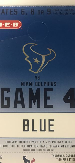 Texans vs Dolphins Blue parking pass for Sale in Spring, TX