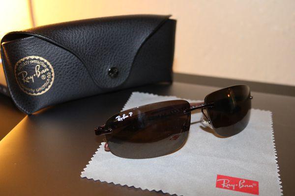 3341a067d9f83 Authentic Ray Ban Carbon Fibre Polarized Sunglasses P3 RB 8303 Mens ...