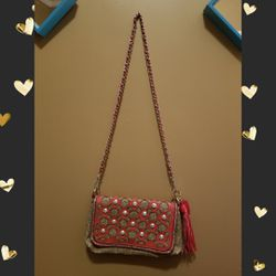 Boutique Coral and Tan Crossbody with studs. Thumbnail