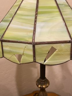 Vintage stained glass brass lamp. Thumbnail