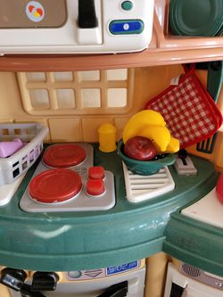 Gently Used Kitchen Children's Play Set With Extra Plastic Toys Thumbnail