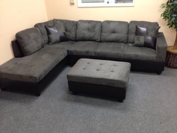 New Gray Microfiber Sectional Couch With Storage Ottoman And Two Free Pillows Will Deliver Today To All Areas