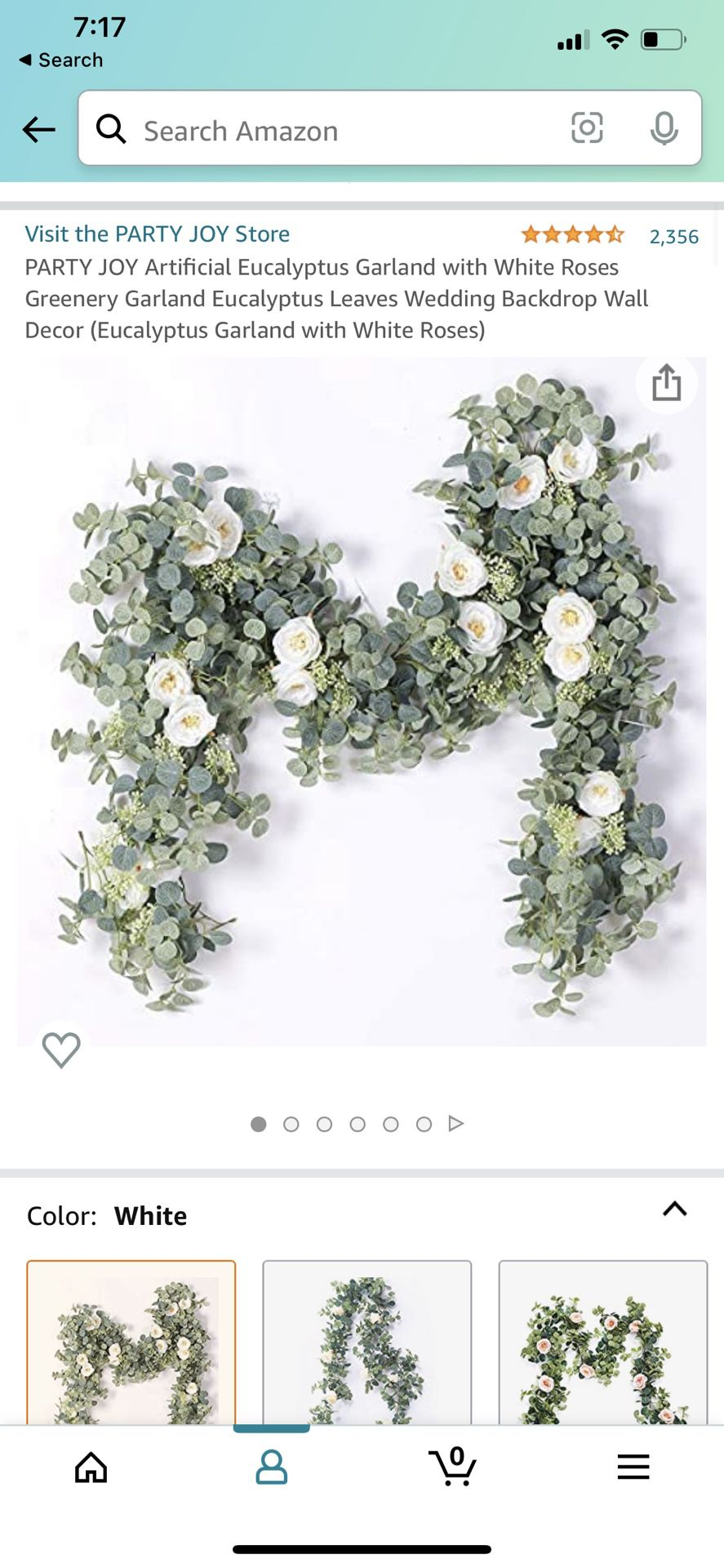 5 Pieces Artificial Eucalyptus Garland with White Roses