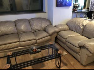 Real Leather Sofa and LoveSeat for Sale in Fort Worth, TX