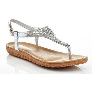 92d2fdd33ae4 Brand new Rasolli Women s Flat Thong Sandals with Rhinestones - Silver -  Size 11 and