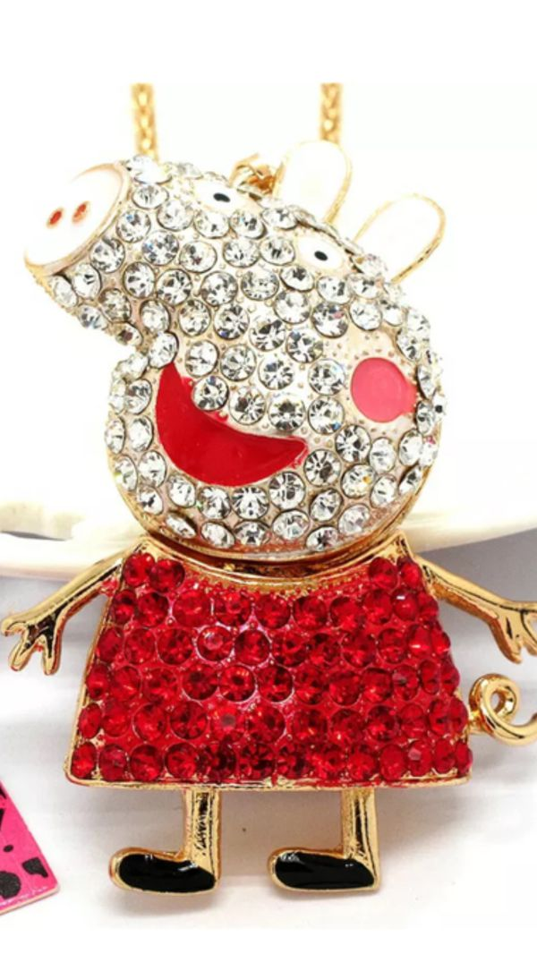 "ee6e3e7e89 Betsey Johnson Peppa Pig "" adorable cartoon character beautiful rhinestone  necklace on a Gold chain"