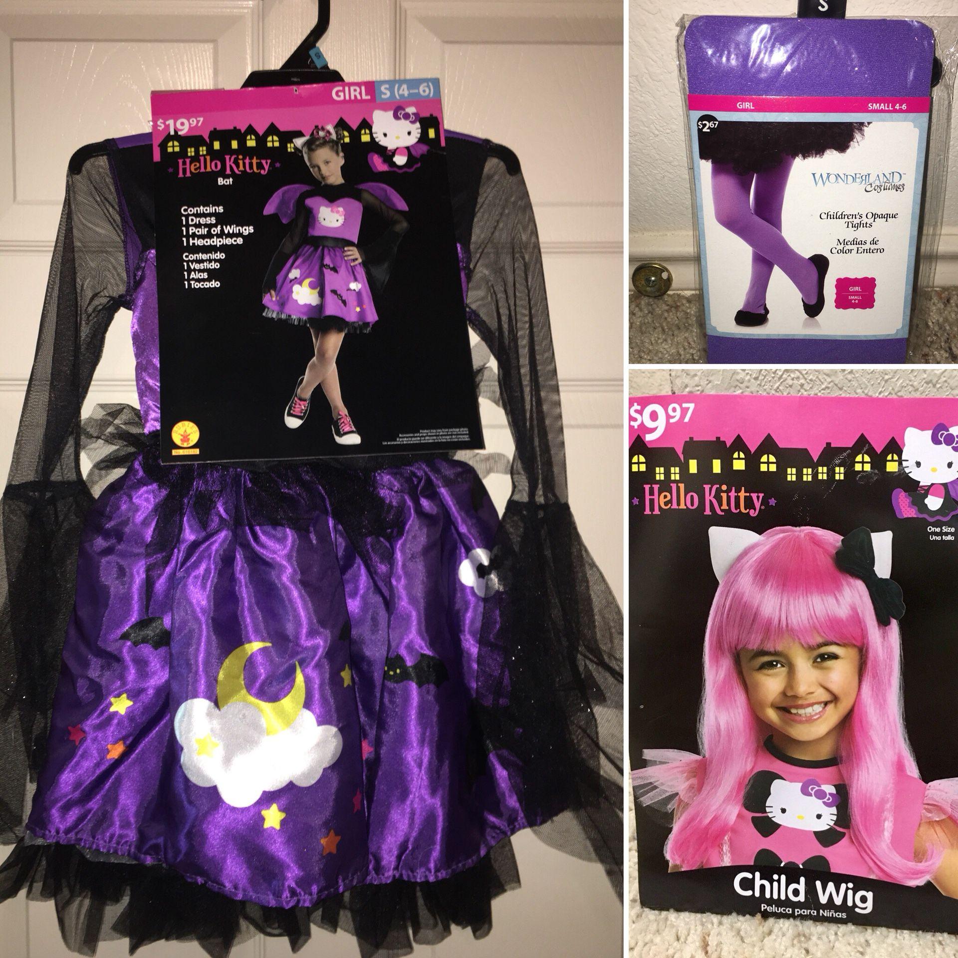 Hello Kitty Bat Costume $12, Purple Tights $3, Wig $5 (All Brand New)