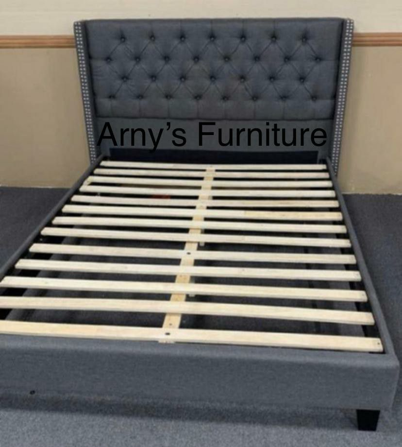New Full size Gray Tufted Upholstered Bed With New Mattress Included