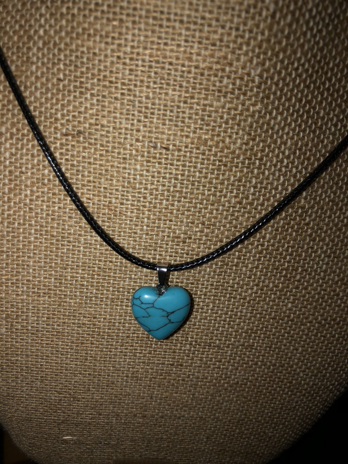 Turquoise stone heart necklace