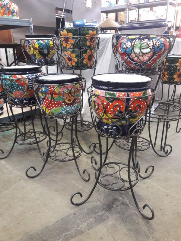 Wrought Iron Stand And Pottery For Sale In San Antonio Tx