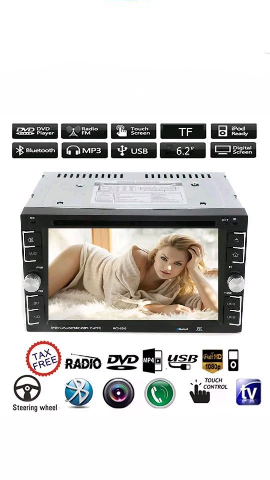 """Double 2Din 6.2"""" Car Stereo DVD CD MP3 Player HD In Dash Bluetooth TV Radio HO"""