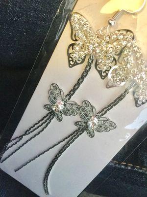 Long Silver butterfly earrings $20. 🌿🦋🌿 Lapis Gemstone Sterling Silver bracelet $30 💎 🌿🦋🌿💎 for Sale in Alexandria, VA