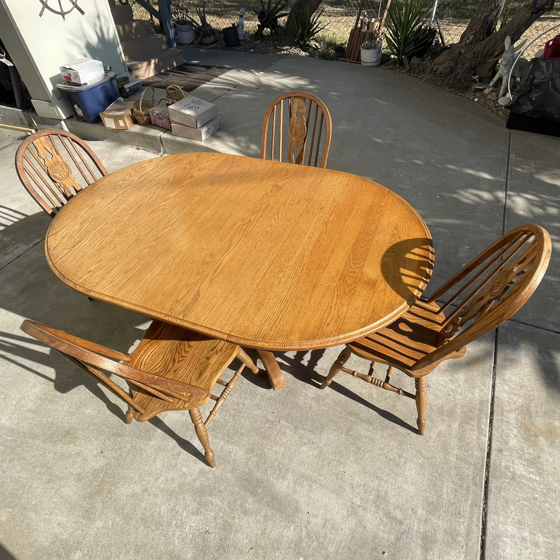 Wood Table with Leaf and 4 Chairs