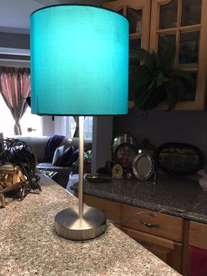 Set of sleek chrome based bedside lamps w/ aqua colored shades for Sale in Atlanta, GA