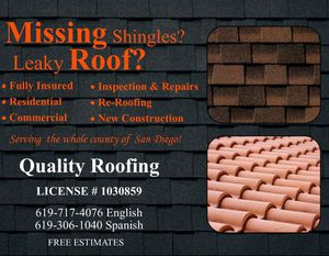 Free roof estimate for Sale in San Diego, CA