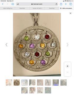 designer rare find ! articulated GEMSTONES ~ Pave set DIAMONDS medallion  / slide  NOS Thumbnail