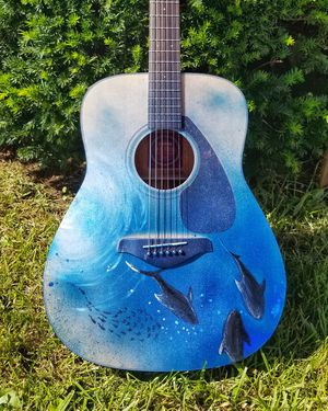 New Yamaha Acoustic Guitar, hand painted with underwater shark scene for Sale in Bethesda, MD