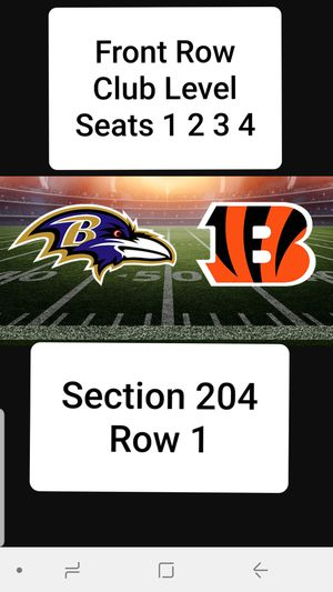 4 Front Row Club Level Ravens Bengals for Sale in Baltimore, MD
