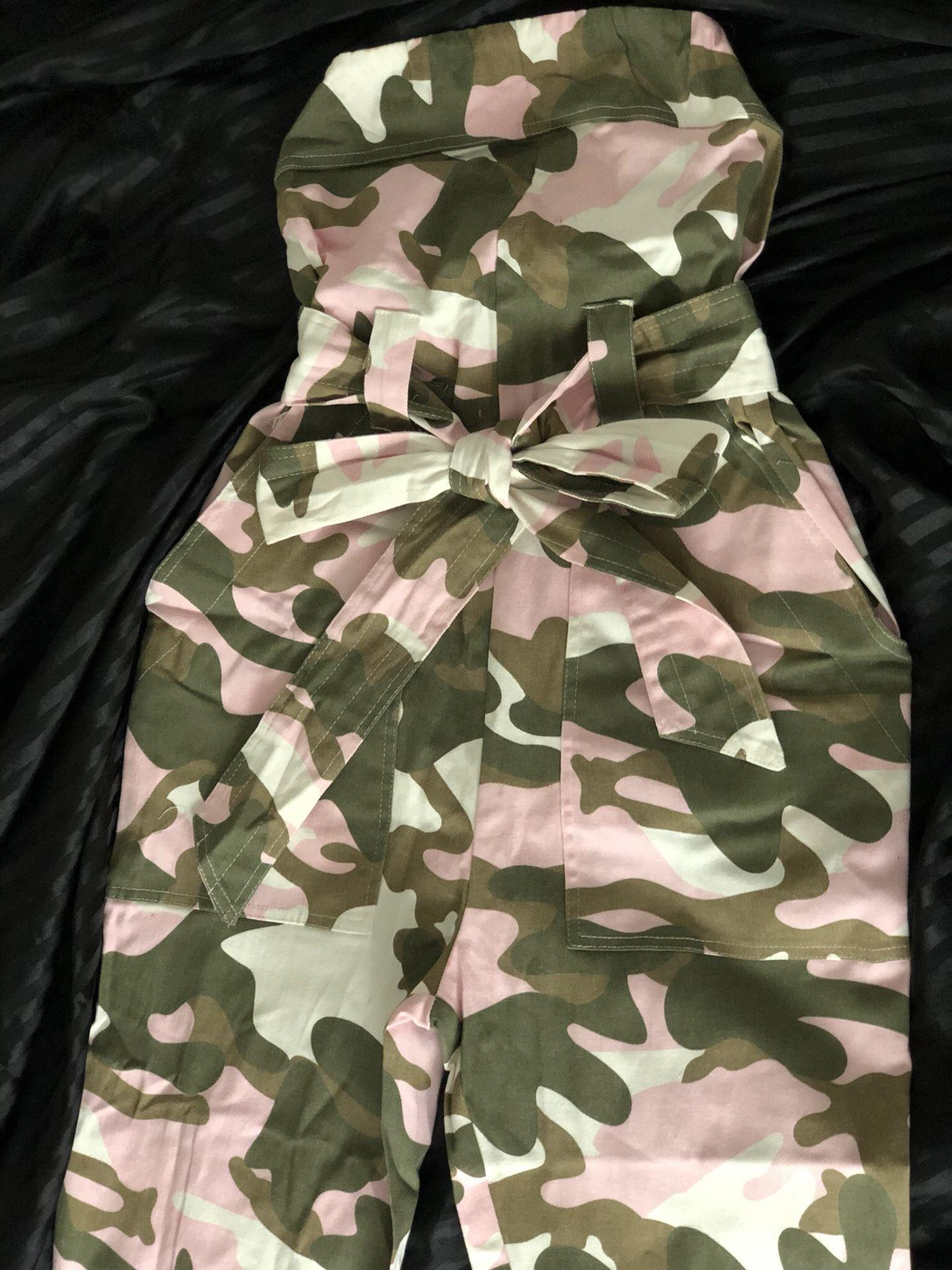 FashionNova camo jumpsuit