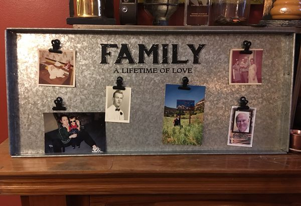 """VERY Unique Tin/Metal Frame with six clips to hold pictures """" FAMILY ..."""