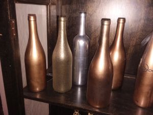 Gold, copper, silver decor bottles for Sale in TN, US