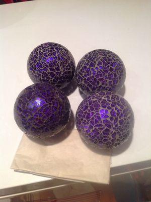4 Purple Mosaic Glass Decorative Balls for Sale in Alexandria, VA
