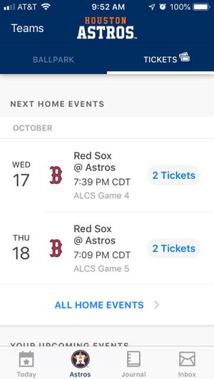 Astros vs. RedSox Game 5 ALCS Playoffs (2 Tickets) for Sale in Houston, TX
