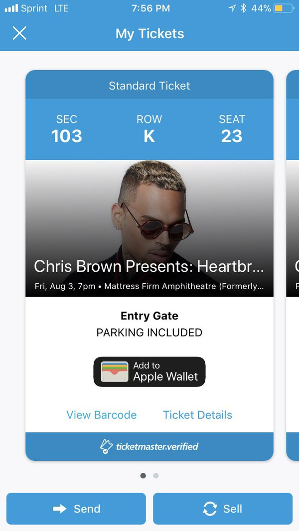 2 Chris Brown Heartbreak on a Full Moon Tour SD tix for Sale in San Diego,  CA - OfferUp