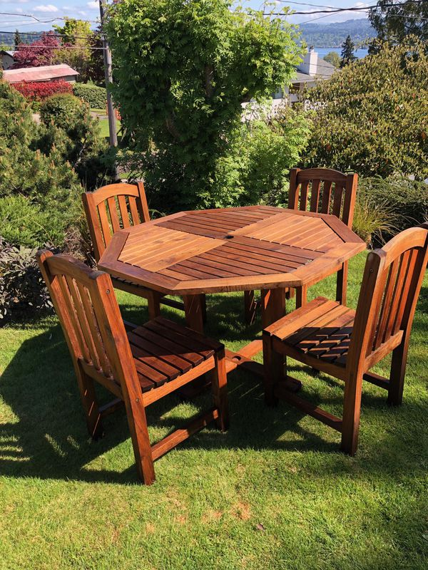 Real teak outdoor patio furniture set for Sale in Seattle ...