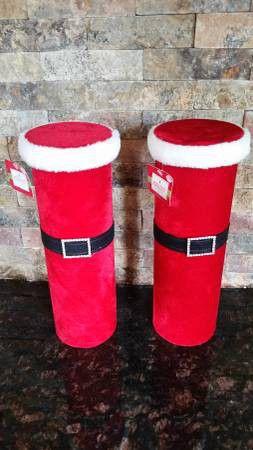 Set of (2) Red Velvet Santa Buckle Boxes (Decor/Wine) for Sale in Ashburn, VA