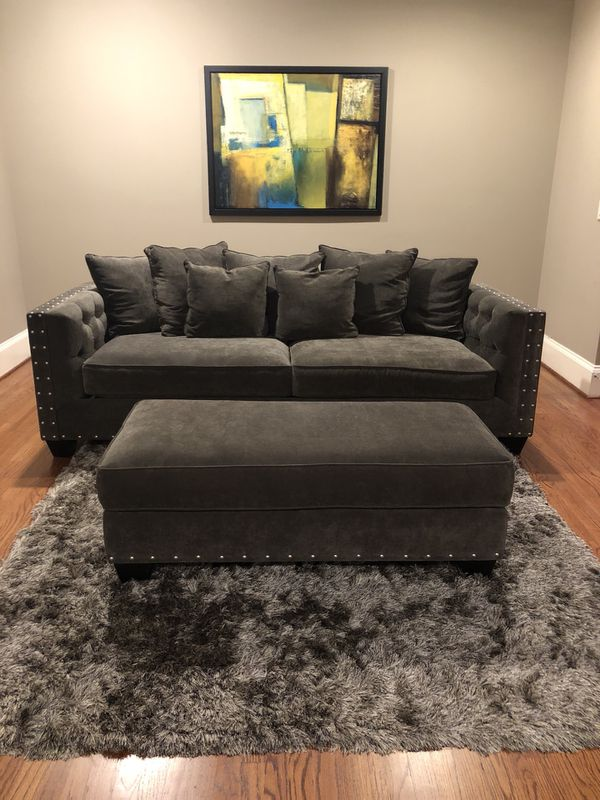 Gray microfiber sofa with ottoman and chair . Rooms to go : Cindy ...