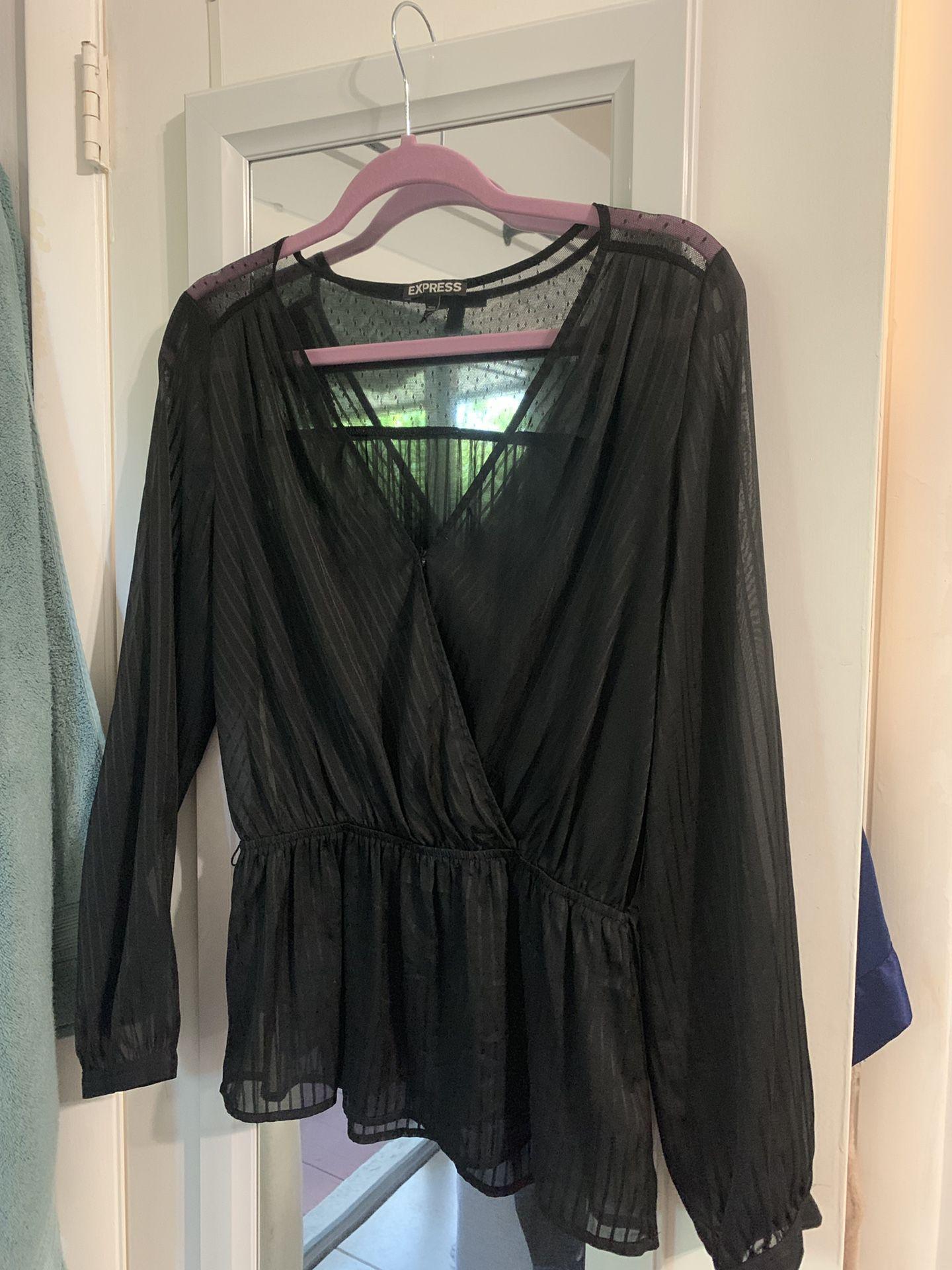 Express faux wrap tie front sheer blouse - M