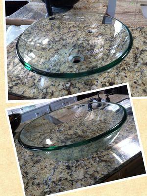 Round Glass Vessel Sink in Clear for Sale in Phoenix, AZ