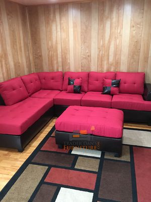 Brand New Red Linen Sectional Sofa + Ottoman for Sale in Wheaton-Glenmont, MD
