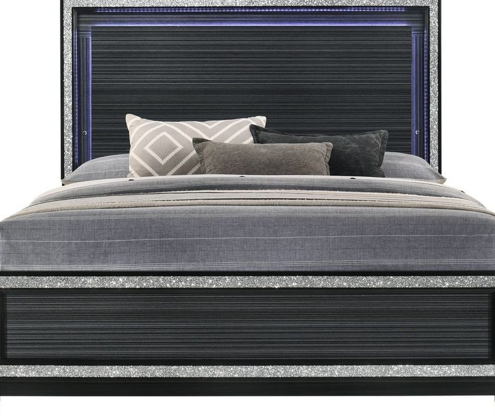 GLAM BLACK FINISH LED LIGHT QUEEN SIZE BED - CAMA