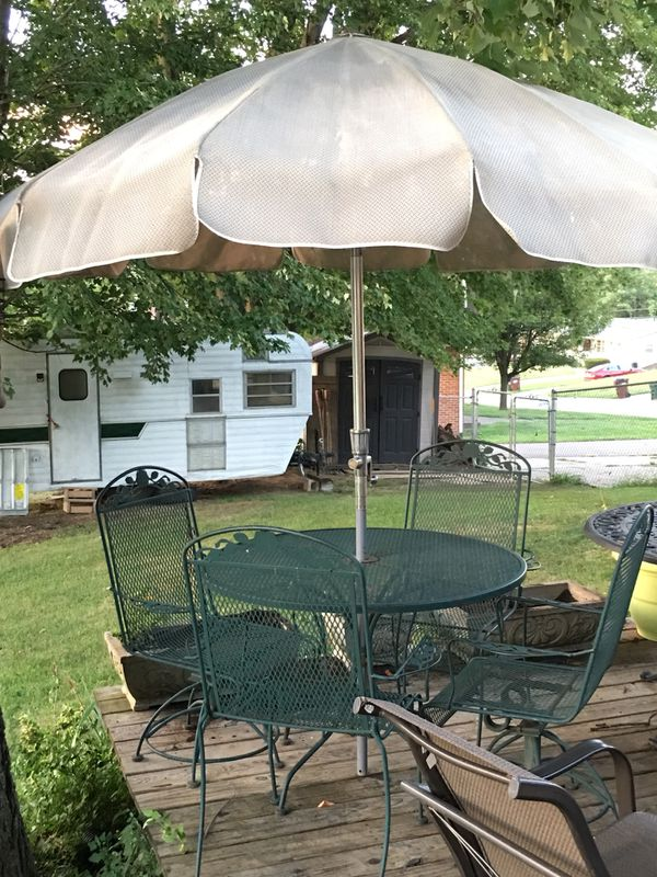 Green Wrought Iron 5pc Patio Table Chair Set With Vintage