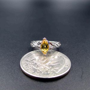 Vintage Estate Size 4.5 10K White Gold Citrine & Diamond Accents Band Ring Wedding Engagement Anniversary Everyday Minimalist Statement Cute for Sale in Everett, WA